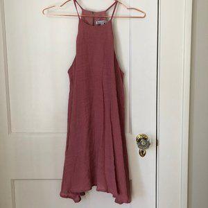 pink linen slip dress